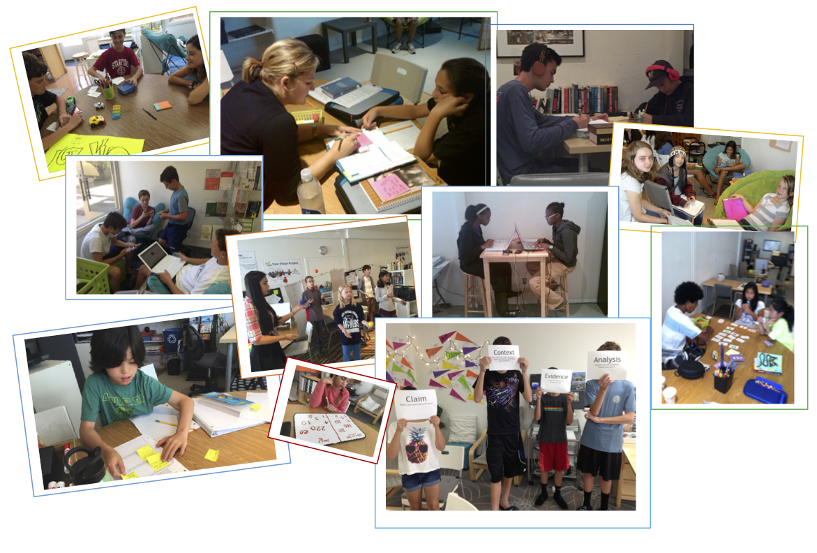Photo collage of students in tutoring sessions.